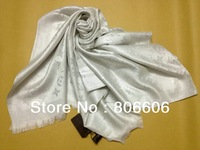 Women Luxury Fashion Oblong 200*70cm long Scarf Lady Monogram Shine Shawl In White Silvery