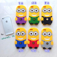3D Cute Animal Despicable Me Silicone Case for iPhone 5 5s with polybag or retail package Good smell
