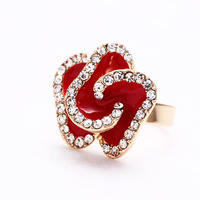 Slient love store colorful fashion popular noble elegant full rhinestone rose rings luxury version finger rings adjustable