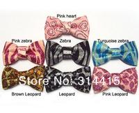 """3"""" Animal Printed glitter hair bows with no clips, baby hair bows, 35pcs/lot, mixed 5pcs/7 color, free shipping"""
