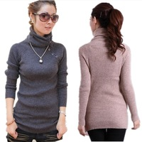 2014  New Sale Long Sleeve Choker Cardigan Women Thicken Cony Hair Casual Women's Sweater