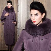 Jacket womens down long winter outerwear women's jacket Down coat female ultra long fox fur luxury plus size down coat XXXXL