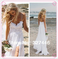 2014 Hot Online Boho White Beach Low Back Wedding Dresses Stunning Vintage Gowns Dreamy Spaghtti Straps Slit Short Lace in Front
