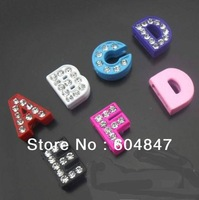Wholesale - - 100pcs A-Z full rhinestone slide letters DIY accessories Fit Watch Bands/ Wristbands