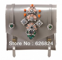 New Arrive Fashion Tortoise Clutch Shourouk Handbag/Serguei Jumbo Bag Pink Grey PVC Bag embroidered with crystals,Free Shipping!