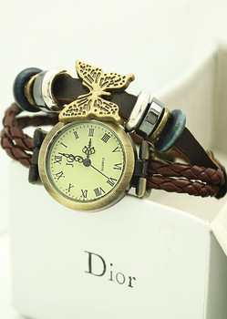 Time butterfly pendant all-match women's watch fashion table vintage watch leather strap student watch  cassio