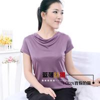 New arrival mulberry silk knitted heap turtleneck short-sleeve top t-shirt plus size women basic shirt