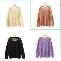 1PC Autumn&Spring Women's Knitted Sweater Black/Purple /Pink/Beige Loose Flower Hollow Sweater Tops Wholesale Dropshipping