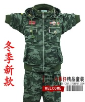 Free shipping new arrival winter children's clothing boys camouflage Military set plus thick velvet cardigan 5-9