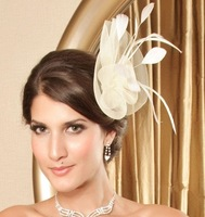 New 2013 Fashion Fascinator Flower Ostrich Feather Cocktail Hat Hair Accessories For Women Couture Headpieces Headdress WIGO0174