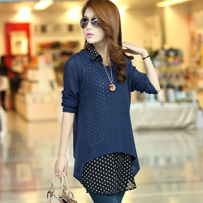 2013 women's autumn cutout long-sleeve sweater shirt chiffon shirt twinset sweater outerwear Sweaters 2013 women Fashion(China (Mainland))