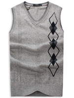 Male V-neck yarn vest men's clothing sweater vest wool waistcoat sweater vest MENS sleeveless BOSS sweater M L XL XXL