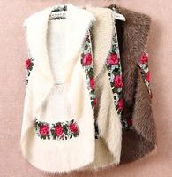 2013 new autumn winter High-end crochet hollow wind fur vest jacket women's spliced coat shawl fur waistcoats covered button