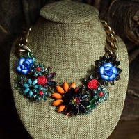 high quality 2013 design vintage flower link chain bib statement choker necklace for women length 45cm
