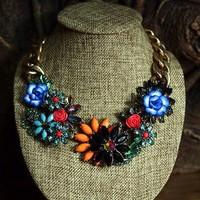 high quality 2013 design vintage flower link chain bib statement choker necklace for women length 45cm