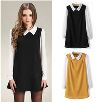 autumn new arrival fashion peter pan collar color block decoration color block long-sleeve loose chiffon high quality