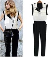 Women White Chiffon Jumpsuit Tank Long Color Block jumpsuits Casual Romper Patchwork Slim Pants New Brand Overalls Plus Size XL