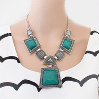 New 2013 Hot Selling Vintage Geometric Colored Gems Necklaces & Pendants Fashion Jewelry Items Statement Jewelery Women N710