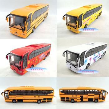 5 Large acoustooptical bus open the door bus toy car alloy car model bus school bus