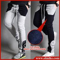 2014 Fall Men's Slim korean style sports pants casual Fur inside slacks pocket designer harem sweatpants skinny trousers C535