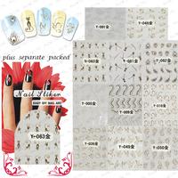 50Sheet/LOT Nail Art Water decal Metallic Gold Zipper,letter.Skull,Butterfly,rosette etc Nail Decals+individually packaging