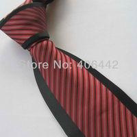 Yibei Coachella Mens Ties Black Bordered Red's Stripe Necktie Formal Neck tie For Men dress Party Fashion Tie