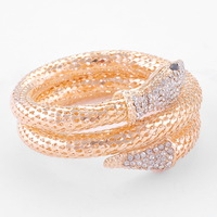 Fashion Snake Crystal Bracelet woman Gold Bangle 2 rows .Free Shipping
