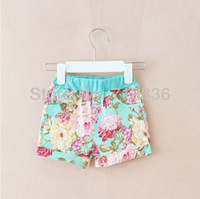 korean style summer baby girls floral shorts ( children printing flower clothing sets)   O4ESSR9-17
