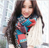 Autumn and winter national trend yarn scarf ultra long thick knitted vintage bohemia cape female