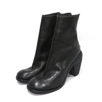 Guidi 2014 black genuine leather high-heeled boots thick heel ankle boots