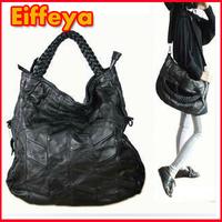 1081  Women Genuine Leather Fashion Handbags Brand 2014 Black Large Tote Bag Designer Purse And Handbags Woman