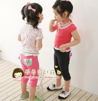 Children's clothing summer girls clothing strawberry pocket children's capris pants