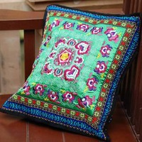 Handmade cushion miaoxiu beautiful pillow miaoxiu pillow cover green