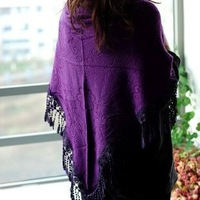 Embossed trigonometric all-match cotton wool ball multi purpose knitted scarf cape