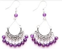 Earrings tibetan silver natural amethyst drop earring  Women vintage earring  crystal  jewellery free shipping