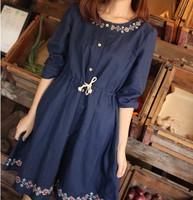 Japanese style autumn national geometry trend cross stitch small fresh lacing slim waist long-sleeve loose one-piece dress
