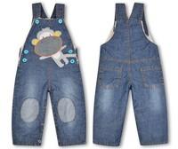 Retail Children thickening Plus velvet children's denim overalls trousers girls baby long pants Size:9M-3Y 1pcs