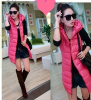 2013 winter new women's temperament and long sections Slim PU leather down cotton vest vest free shipping wholesale