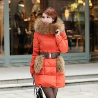 Free shipping 2014 large fur collar winter down coat women warm overcoat outerwear