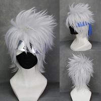 Naruto Hatake Kakashi Silver Grey Short Full Cosplay Wig Costume Party Cos Hair Wig