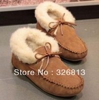 EMS freeshipping Winter in Europe and the us designer shoes leather frosted doug cotton wool maomao shoes with flat sole