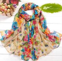 10Pcs Beige Fashion Women Cotton Linen Rural Style Flower Beautiful Long Silk Scarf Shawl K01102