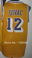 Free Shipping,Cheap Sale 2013 New Arrive Discount Promotion #12 Vlade Divac Gold Basketball jersey,Embroidery logos