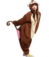 Factory price free shipping New Arrival Animal Baboon Monkey Pajamas Adult Kigurumi Onesie  Sleepwear Halloween Party Costumes