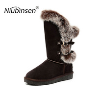 christmas gift nature wool lined real sheepskin leather real fox fur fashion snow boots for women winter flat shoes brown black