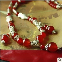 Handmade jewelry design jewelry red agate necklace female length