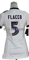 Hot Sale # 5 Joe Flacco Women's Authentic White Football Jersey Free Shipping Online 2013