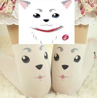 New 2014  Women Sexy tattoo dog Pattern harajuku female knee high stockings pantyhose tights