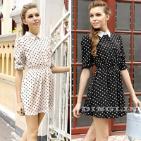 Fashion Retro Women Elegant Long Sleeve Polo Neck Polka Dot Waisted Evening Party Mini Dress Size S 3 Colors Free Shipping 1022