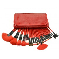 New Arrival 24 pcs Professional Makeup Brush Kit Makeup Brushes Sets Cosmetic Brushes + PU Leather Bag - Red